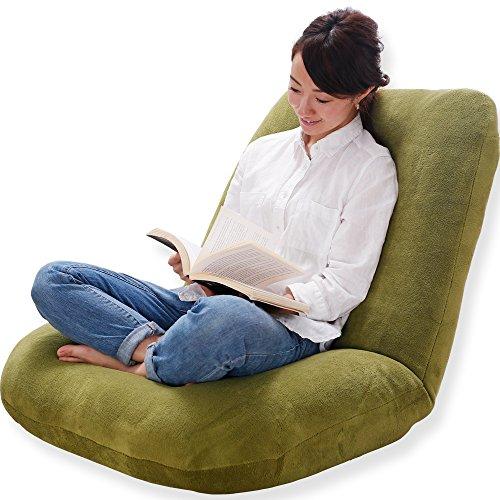 【あぐらシリーズ】 座椅子 1人用ソファ リクライニング ワイド座面 ポケットコイル ソフト生地 オリーブ