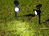・太陽光で自動充電、自動点灯!!★ソーラーLEDガーデンスポットライト 2個セット☆防水仕様、ガーデニング照明に最適!ソーラーだから、面倒な配線...