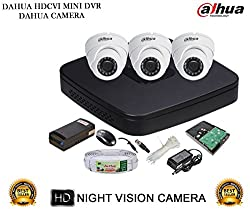 DAHUA HDCVI 4CH DH-HCVR4104C-S2 DVR + DAHUA HDCVI DH-HAC-HDW1000RP DOME CAMERA 3Pcs + 1TB HDD + 3+1 COPPER CABLE + POWER SUPPLY (FULL COMBO)
