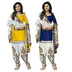 Janasya Women's Unstitched Polyester Dress Material COmbo (Yellow & Blue)