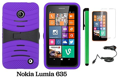 Nokia Lumia 635 / Nokia Lumia 630 Premium Pretty Ucase With Kickstand Cover Case (Us Carrier: T-Mobile, Metropcs, And At&T) + Screen Protector Film + Car Charger + 1 Of New Assorted Color Metal Stylus Touch Screen Pen (Purple / Black) front-271385