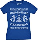 Womens Mer-Ry-Maid Christmas Funny Mermaid Holiday Ugly Sweater T shirt (Royal Blue) -M