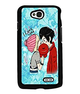 Fuson Love Couple Back Case Cover for LG L70 - D4001