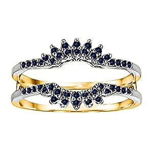 0.22CT Sapphire Contoured Wedding Ring Jacket set in Two Tone Sterling Silver (0.22CT TWT Sapphire)