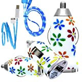 CellBig Introduces Brand New Vehical Travel iN Car Charger Adapter Compact Bullet / Capsule Shaped With Beautiful Daisy Flower Print Included Blue LED Visible Lightning USB Synchronize Data Cable Lead Suitable For Apple iPhone 2 2G / 3 3G 3GS / 4 4G 4S /
