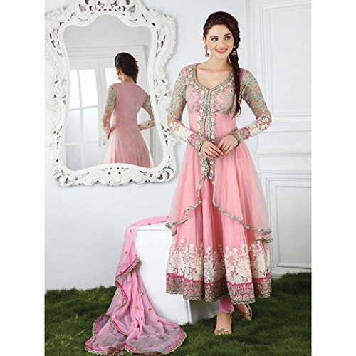 High Street Fashion Women's Net Anarkali Suit Dress Material (HSFS-294_Pink)