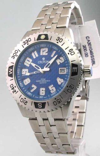 Mens Croton Steel Date Watch CA301049SSBL