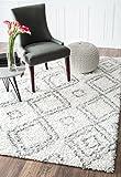nuLOOM 200OZSG18A-406 Alexa My Soft and Plush Moroccan Trellis White/Grey Easy Shag Rug (4-Feet X 6-Feet)