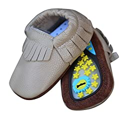 Lucky Love Baby Moccasins • 100% Genuine Leather • Infant, Babies & Toddlers Shoes for Girls and Boys (6-12 months | size 3.5 US, Hard Sole Khaki)