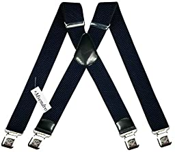 Mens Suspenders Wide Adjustable and Elastic Braces X Shape with Very Strong Clips - Heavy Duty (Navy Blue)
