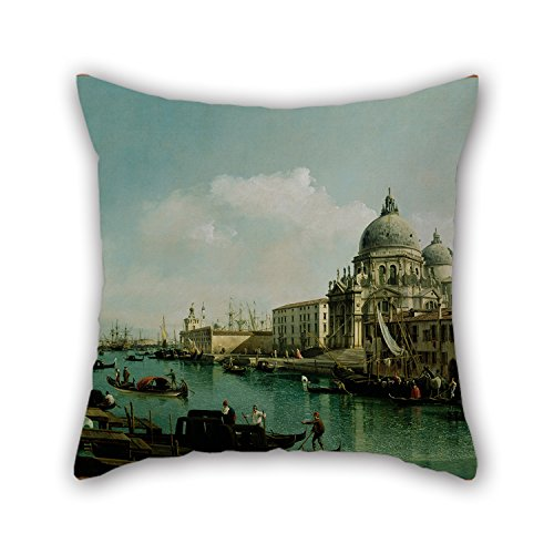 Artistdecor The Oil Painting Bernardo Bellotto (Italian - View Of The Grand Canal And The Dogana Pillowcover Of ,18 X 18 Inches / 45 By 45 Cm Decoration,gift For Bar,divan,living Room,coffee House,c (Italian Puss compare prices)