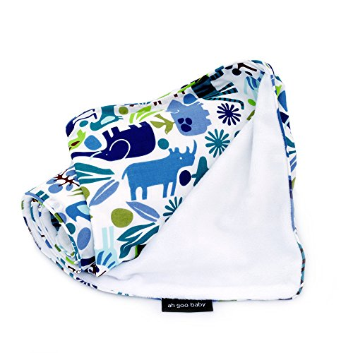 "Ah Goo Baby Stroller Blanket, 2 Layer Water Resistant 41""x30"", Zoo Frenzy Pattern"