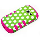 4 items Combo: ITUFFY LCD Screen Protector Film + Mini Stylus Pen + Case Opener + Green White Polka Dots Design Rubberized Hard Plastic + PINK Soft Rubber TPU Skin Dual Layer Tough Hybrid Case for Samsung Galaxy Centura S738C / Samsung Galaxy Discover S730G (Straight Talk / Net10/ TracFone)