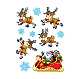 Beistle Santa and Sleigh Clings for Party Decorations, 12-Inch by 17-Inch Sheet