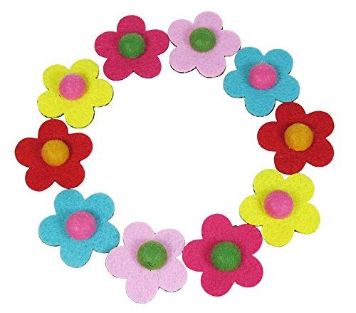 HipGirl Girls Mini Bow Tie, Mini Pinwheel Hair Bow Clips, Barrettes (10pc Felt Feltie Flower Velcro Barrettes) (Velcro Hair Clip compare prices)