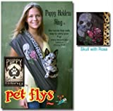 Pet Flys Pet Sling Dog Sling Skull with Rose Brown - Puppy