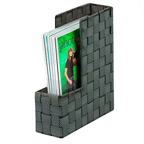 Honey-Can-Do OFC-04481 Woven Magazine File Holder, 3.75 by 10 by 12.5-Inch, Salt/Pepper