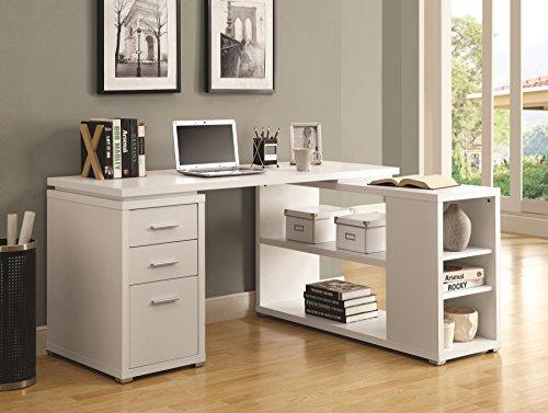 Monarch Specialties Hollow-Core Left or Right Facing Corner Desk, 80-Inch, White