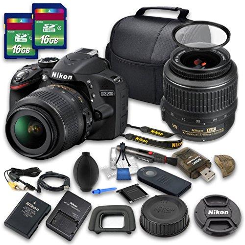 Nikon D3200 Digital SLR Camera with Nikon AF-S DX NIKKOR 18-55mm f/3.5-5.6G VR Lens + 2pc 16 GB SD Card + Cleaning Kit - International Version (No Warranty) (Re 1000 Range Extender compare prices)