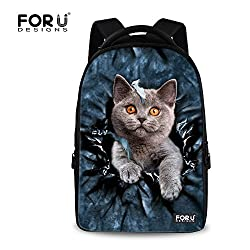 For U Designs Fashion Small Size Cool 3d Cat Print Casual College Bookbag Personalized Backpack