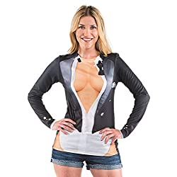 Ladies Cleavage Tux Tuxedo Long Sleeve Costume T-Shirt