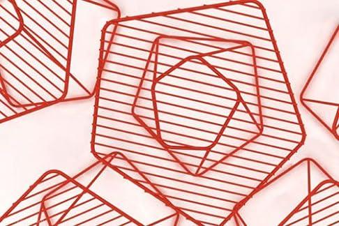 BONALDO tavolino Tectonic rosso lucido h35 piano in filo acciaio camera salaTC94