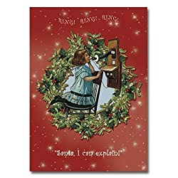 "Telephoning Santa - 5"" x 7"" Pop Up Christmas Greeting Card"