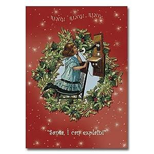 "Telephoning Santa - 5"" x 7"" Pop Up Christmas Greeting Card"