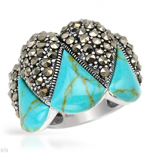 Cocktail Ring With Precious Stones - Genuine Marcasites and Turquoises Crafted in 925 Sterling silver. Total item weight 8.6g (Size 7)