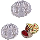 GS MUSEUM Silver Plated Rani Kumkum Plate 2 Sets And Handicraft Diya Shape Chopda
