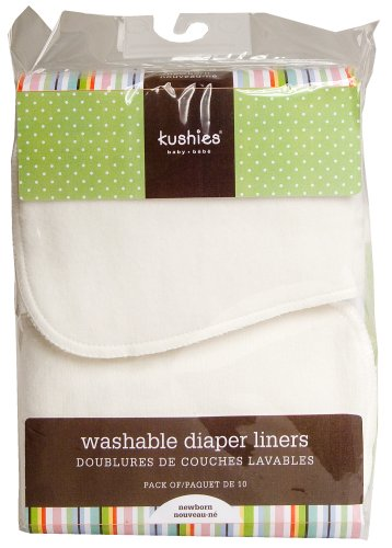 Kushies 10 Pack Washable Diaper Liners, White