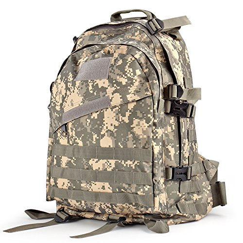 Flexzion Military Tactical Backpack (ACU) Outdoor Camping Hiking Hunt Trekking Assault Rucksack Travel Molle Daypack Bag Expandable Waterproof 40L Capacity (Mossad Type Tactical Cargo Bag compare prices)