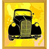 ArtzFolio Retro Style Car - SMALL Size 16inch X 17.4inch (40.6cms X 44.2cms) Including 1 Inch Wide Frame - PREMIUM MUSEUM-GRADE CANVAS Wall Paintings With GOLDEN COLOUR NATURAL WOOD FRAME: DIGITAL PRINT Wall Posters Art Panel Like Hand Paintings: Home Int