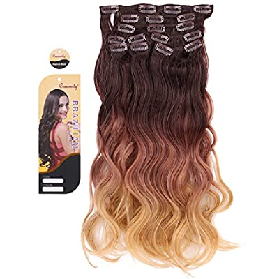 "Creamily® #4/10/27 (Dark Brown to Caramel Blonde) 3-tone Ombre Color Wavy Clip in Hair Extensions 8 Pieces 18"" for a Full Head"