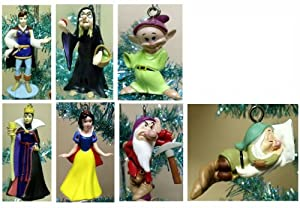 "Disney Snow White and the Seven Dwarfs 7 Piece Holiday Christmas Tree Ornaments Set Featuring Princess Snow White, The Prince, Dopey, Grumpy, Sleepy, The Queen, and The Wicked Witch and 3 Unique 1"" Decorative Snow Whtie Buttons"