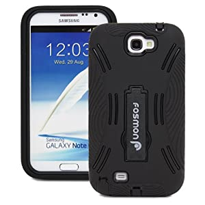 Fosmon HYBO Series Dual Layer Hybrid Kickstand Case for Samsung Galaxy Note 2 II / N7100 (Solid Black)