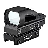 CVLIFE Red & Green Dot Sight 4 Reticles Reflex Sight New Design ON & OFF Switch with 20mm Rail Mount