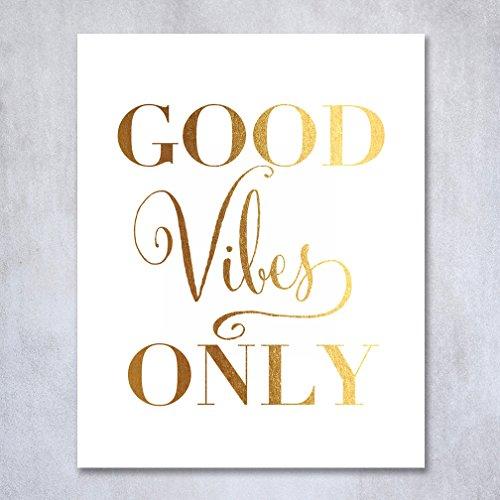 Jual Wall Art Print : Good vibes only gold foil decor wall art print