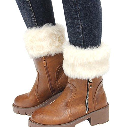 FAYBOX Women Winter Faux Fur Boot Cuff Knitting Leg Warmers Short IVY (Rain Boot Short Socks compare prices)