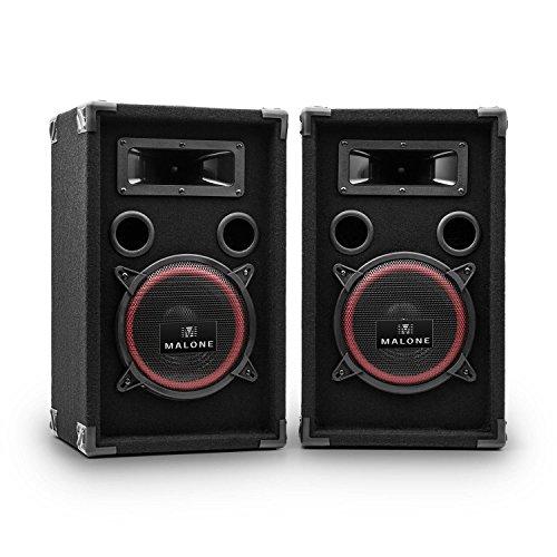 Malone-Xen3508-PA-Boxen-kompakte-1000W-max-Lautsprecher-Partyboxen-mit-20cm-Subwoofer-2-x-200W-RMS-Bassreflex-Bauweise-Filzummantelung-schwarz-rot