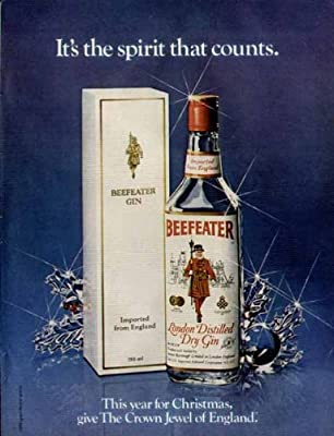 It's the spirit that counts Charming 1981 Christmas ad for Beefeater London Gin Original Paper Ephemera Authentic Vintage Print Magazine Ad / Article