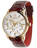 Detomaso Crotone Men's Automatic Watch with White Dial Analogue Display and Red Leather Strap DT1046-A