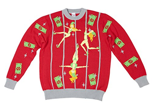 Pole Dancing Elves Ugly Christmas Sweater-FunQi, Red (Large)
