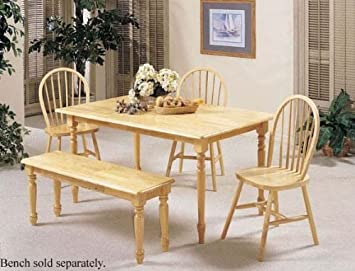 5pc Dining Table & Chairs Set Natural Finish