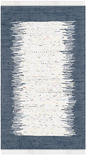 Safavieh Montauk Collection MTK711L Hand Woven Ivory and Navy Cotton Area Rug, 3 feet by 5 feet (3' x 5')