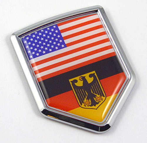 Car Chrome Decals CBSHD228-077 USA Germany American German Flag Car Chrome Emblem 3D Decal Sticker with adhesive