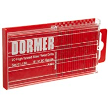 Dormer A191 High Speed Steel Jobber Length Drill Bit Set with Plastic Case, Black Oxide Finish, 118 Degree Conventional Point, Wire Size, 20 piece, #80 to #61