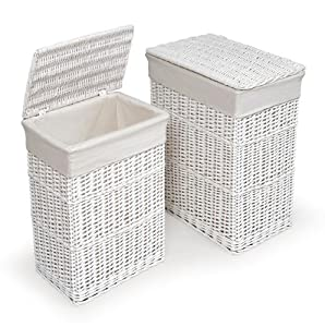 White 2 Hamper Set with Liners
