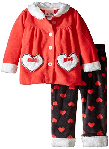Little Lass Baby Girls' 2 Piece Polar Fleece Set Hearts, Calypso Coral, 12 Months