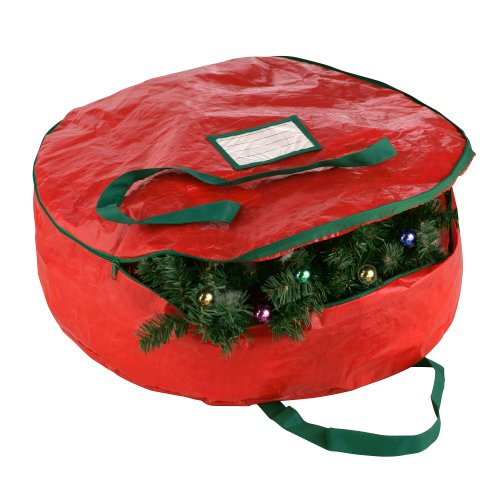 Elf Stor Red Holiday Christmas Wreath Storage Bag for 24-Inch Wreaths